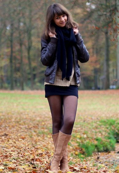 Layering, knit skirt, sweater, tights + tall boots #churchoutfitfall Layering, knit skirt, sweater, tights + tall boots #churchoutfitfall