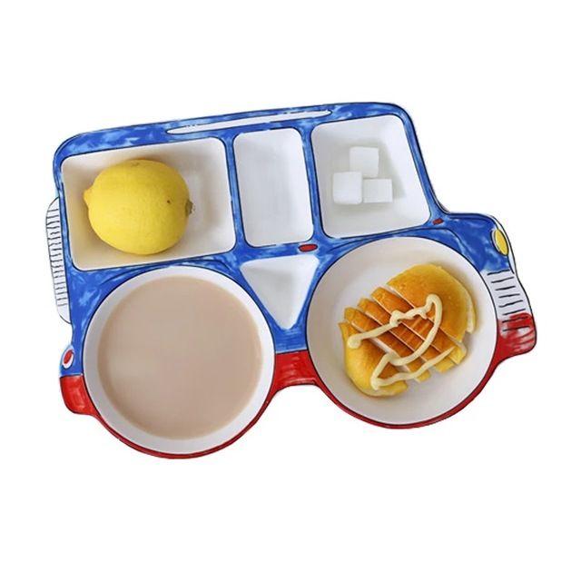 Jeep Car Shape Ceramic Cartoon Children Divided Platter Dinnerware Dish Tableware Breakfast Plate Meal Set Kids Dinner Plate Con Imagenes Platos