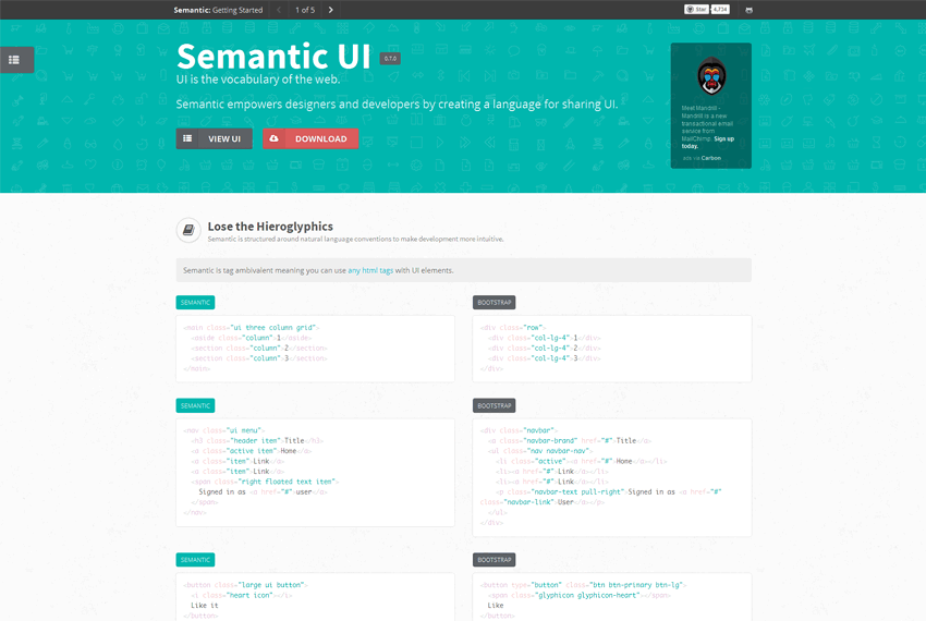 Semantic ui template