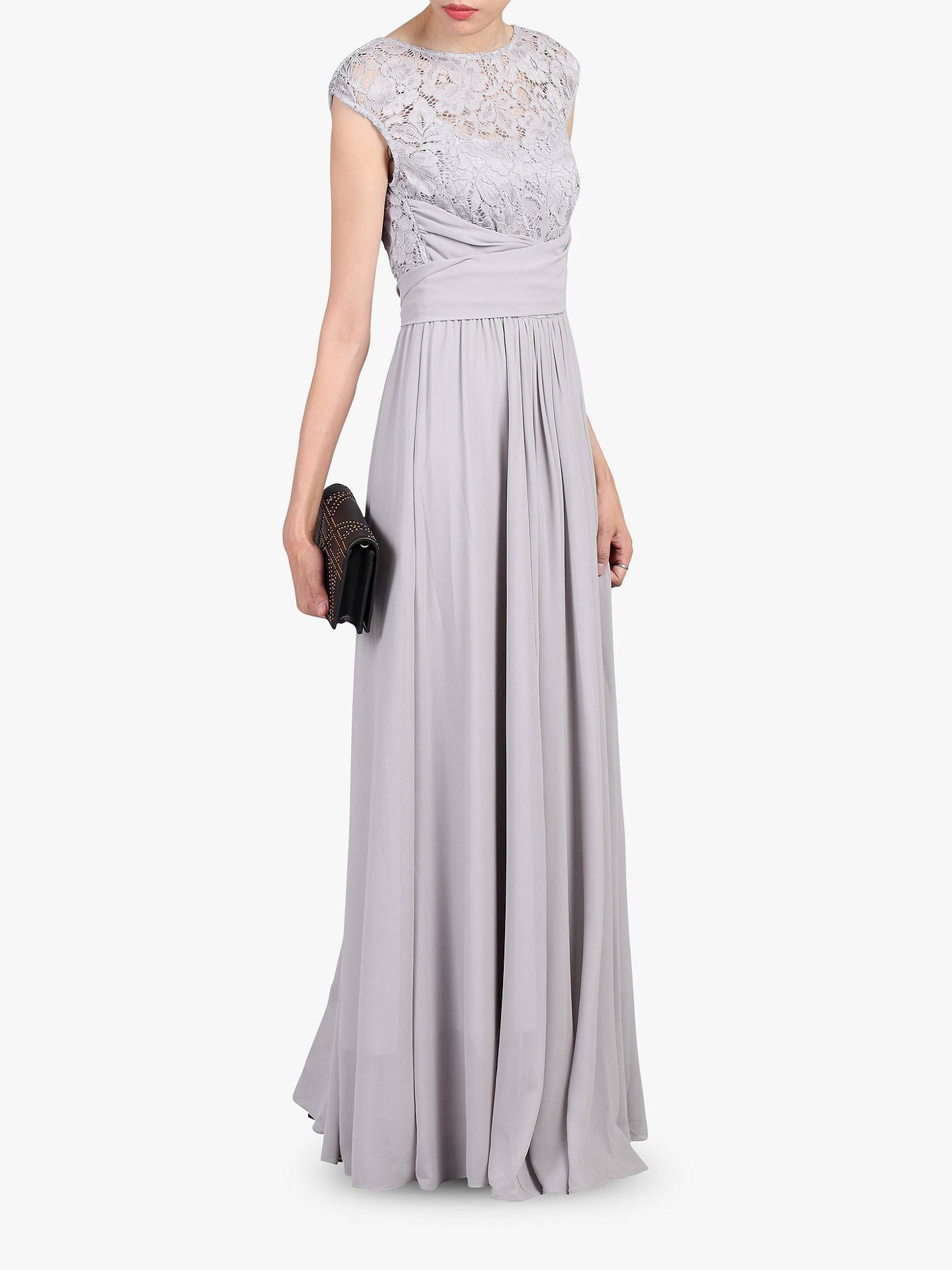 c8b21e5a94ce BuyJolie Moi Lace Bodice Pleated Maxi Dress, Silver Grey, 8 Online at  johnlewis.com