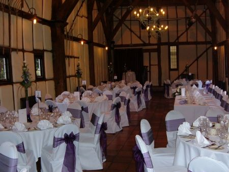 Wedding Chair Cover Hire Bedford Hairdressing Covers Barns Hotel With Deep Purple Sash Venue Decoration