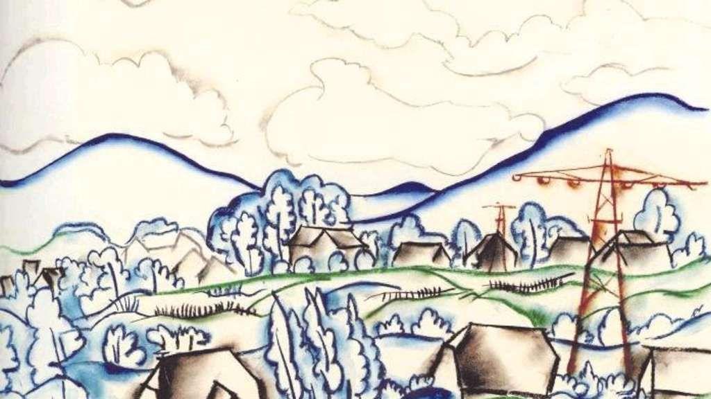 """Naturidyll mit Brechungen der Moderne: Walter Ophey zeichnete das Blatt """"Im Sauerland"""" 1928."""