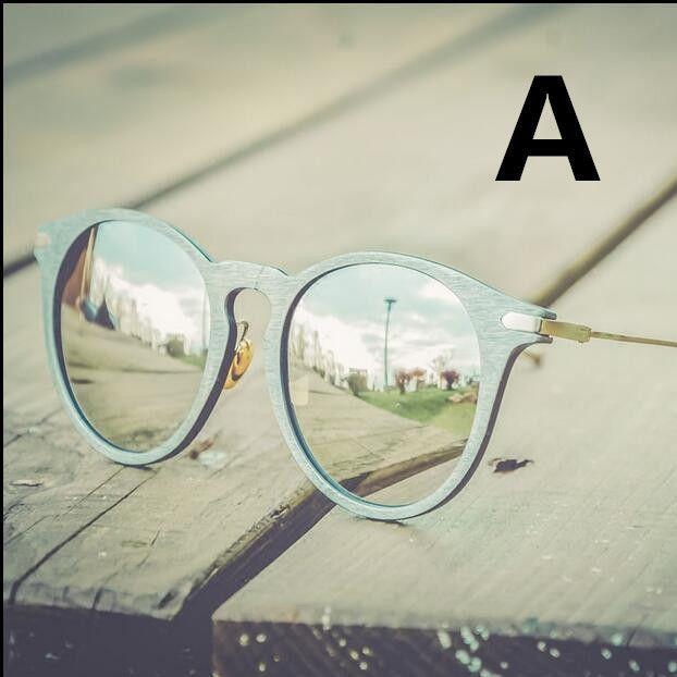 Women's Retro Round Sunglasses Metal Wood Frame Mirrored Lens Glasses Eyewear