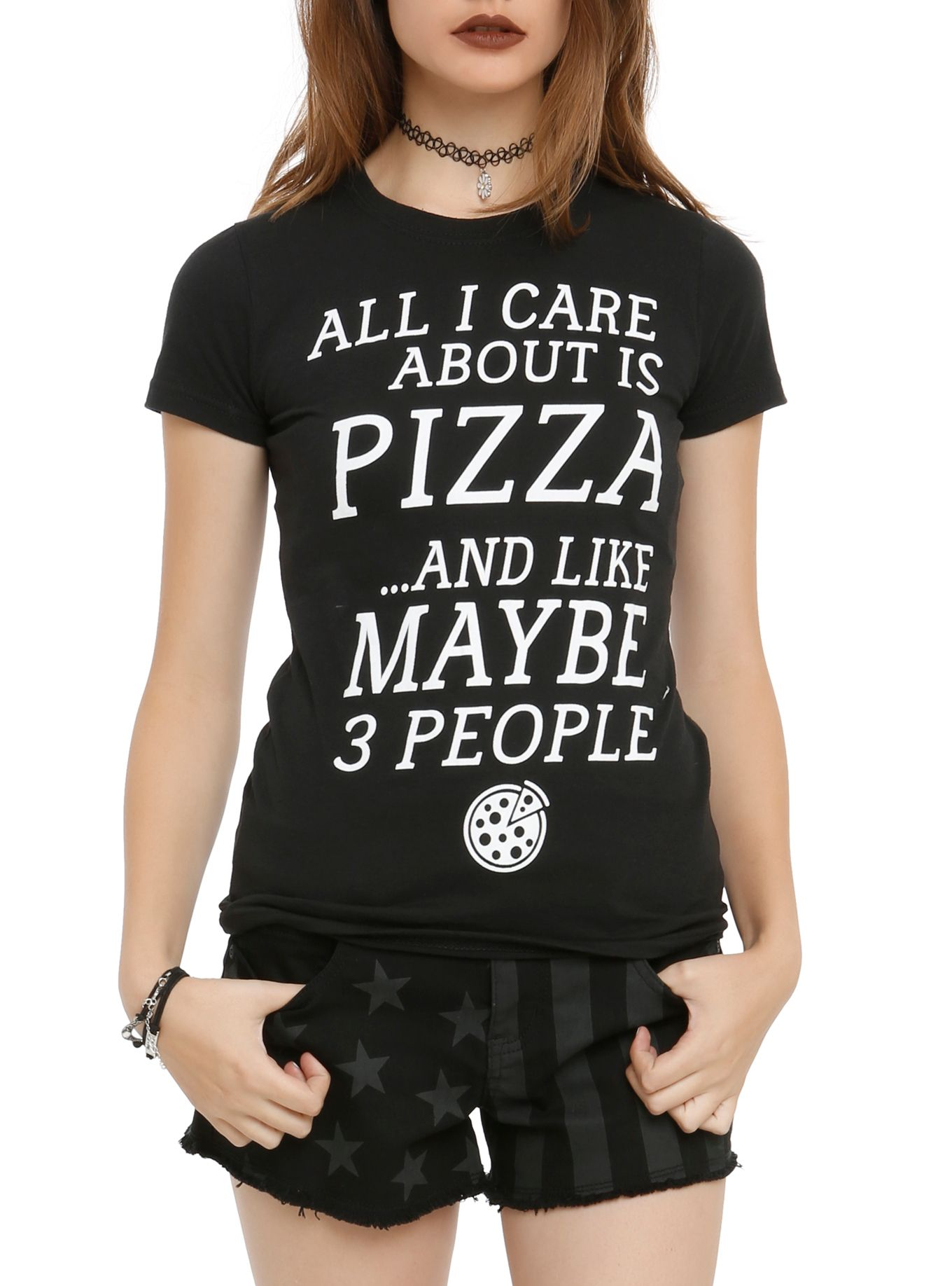 Care About Pizza And 3 People Girls T-Shirt #hottopicclothes