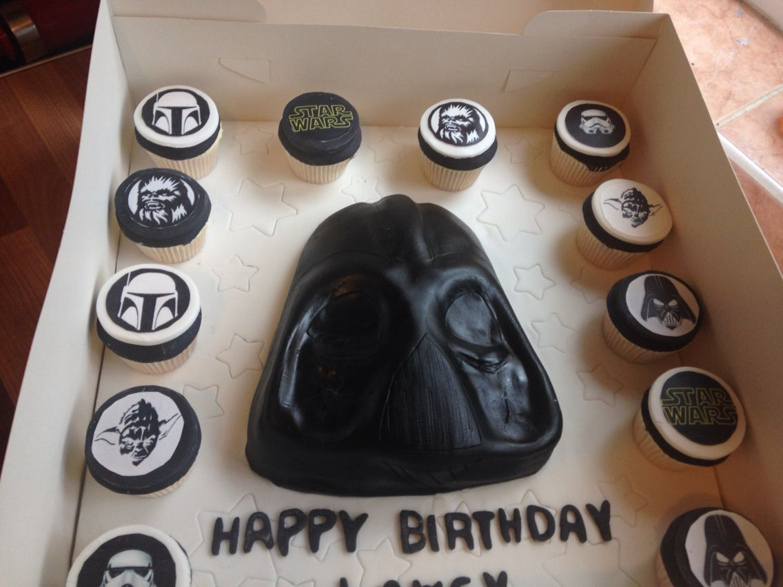 Darth Vader cake with starwars cupcakes