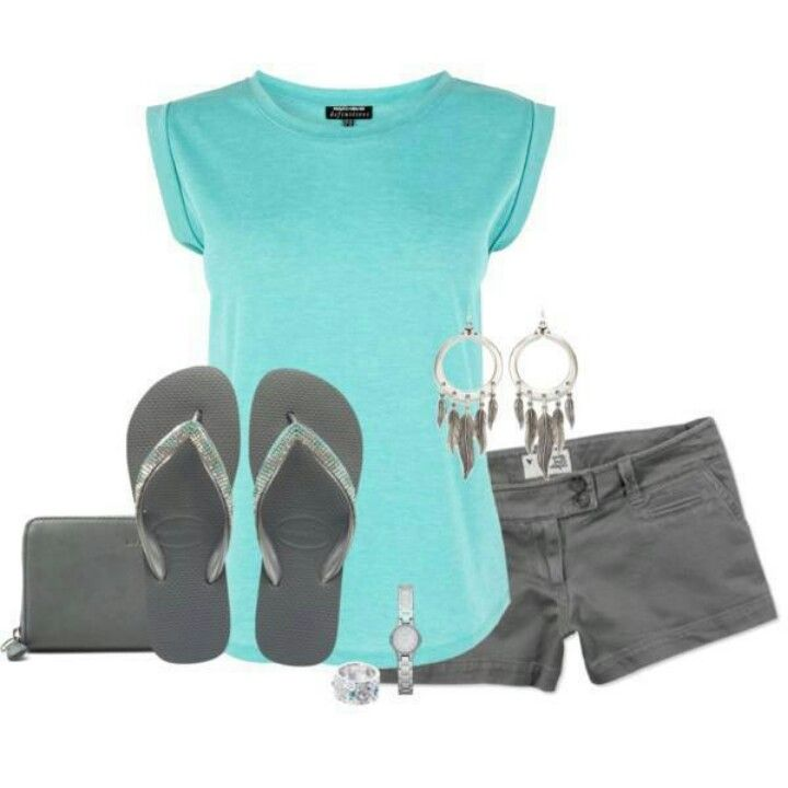 Like the colors and accessories, might do different shoes and longer shorts.