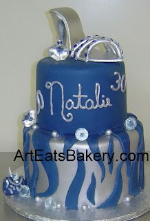 Two tier silver and blue animal print fondant unique birthday cake