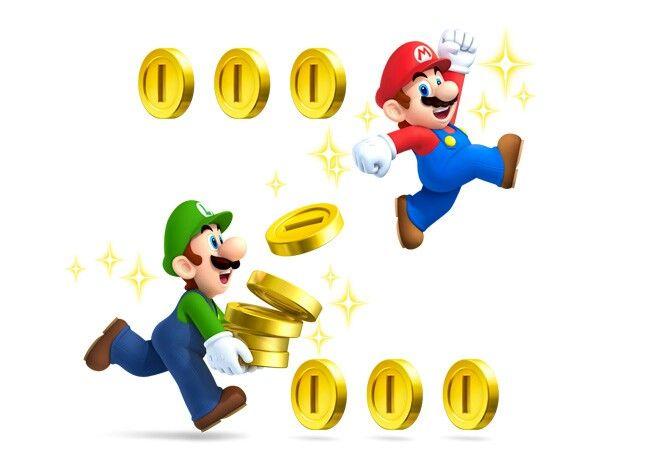 Mario U Luigi Beim Einsammeln Der Münzen In New Super Mario Bros 2