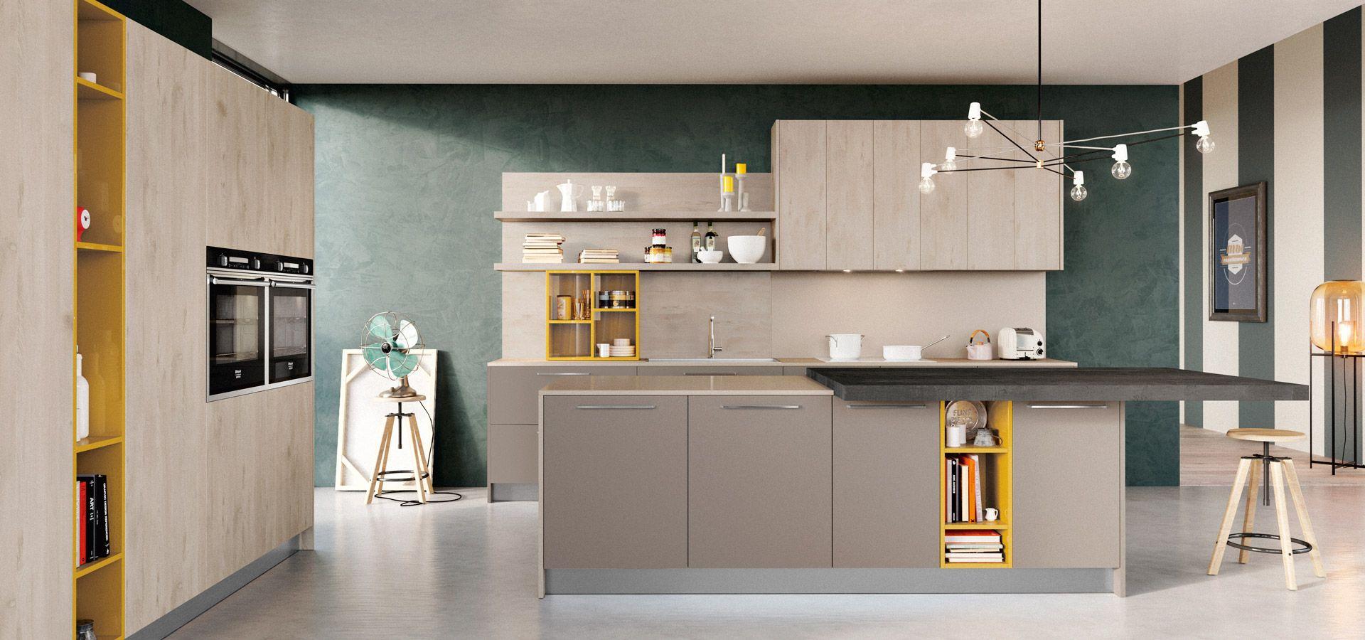 Cucina Moderna - Round Finitura Roccia e Visone | Elementi a ...