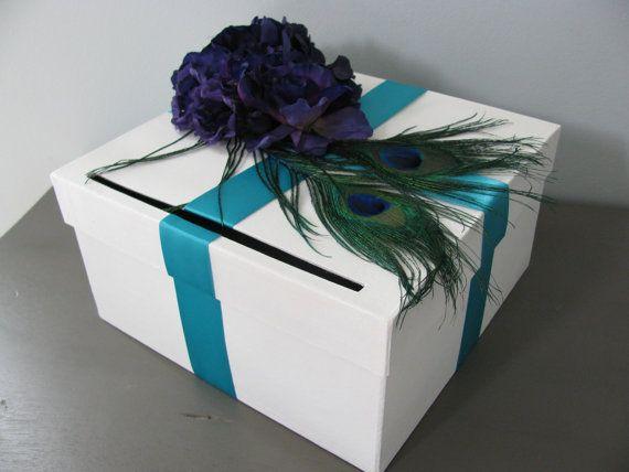 Peacock Wedding Card Box Shown White Box With Purple Teal Aqua