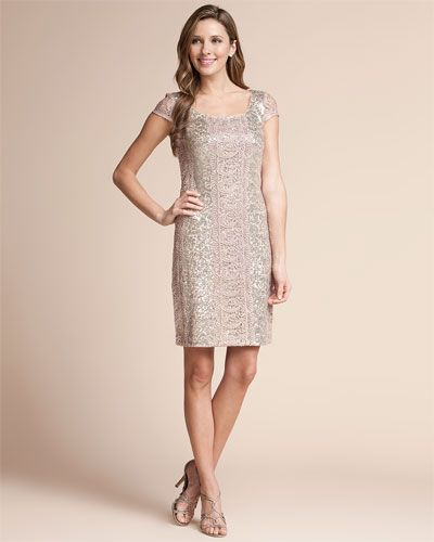 Kay Unger Blush Sequin & Lace Dress--My Rehearsal Dinner Dress!