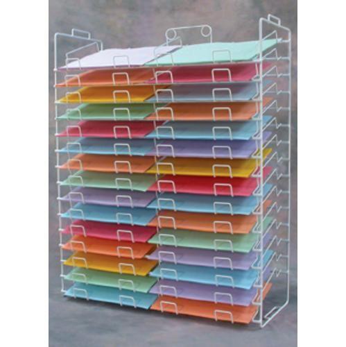Scrapbook Paper Rack Tower White Organizer Storage Display 30-slot 12x12 New