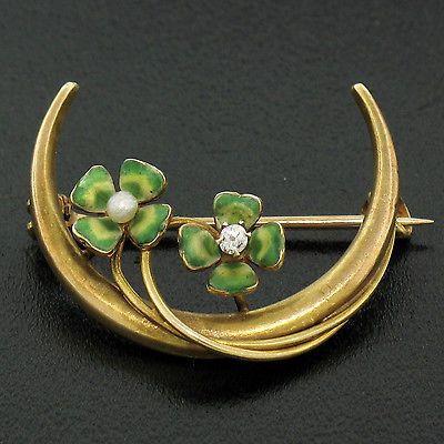 Antique-Art-Nouveau-14K-Yellow-Gold-Diamond-amp-Pearl-Enamel-Clover-amp-Crescent-Pin
