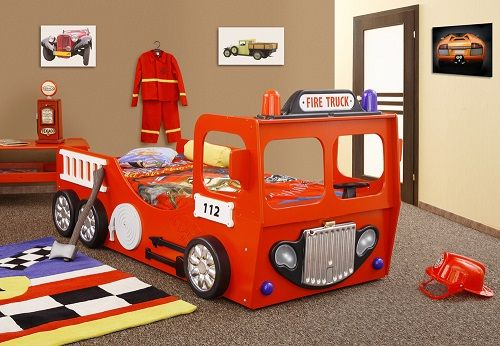This Fire Engine Bed Frame Is Constructed Of MDF And Red In Colour With White