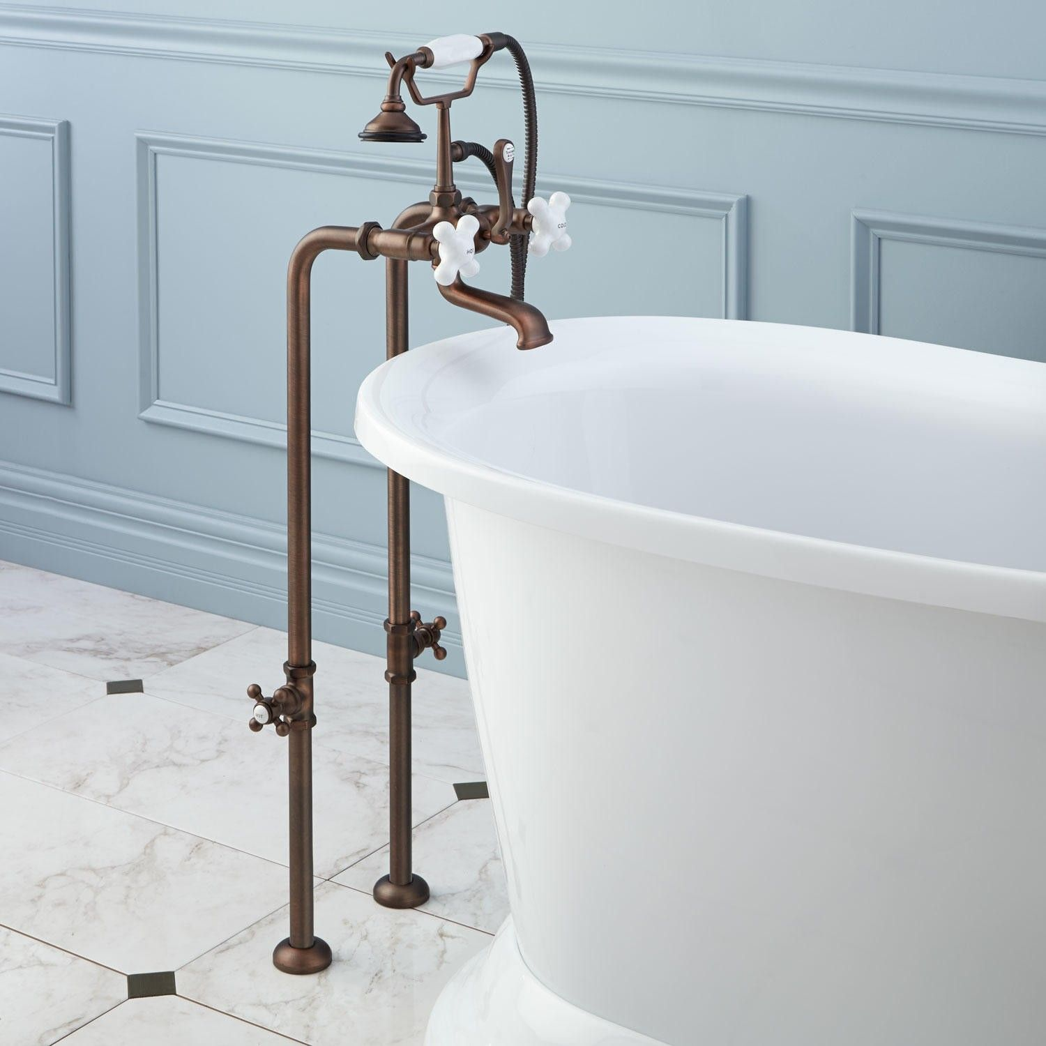 Freestanding Telephone Tub Faucet, Supplies and Valves - Porcelain ...