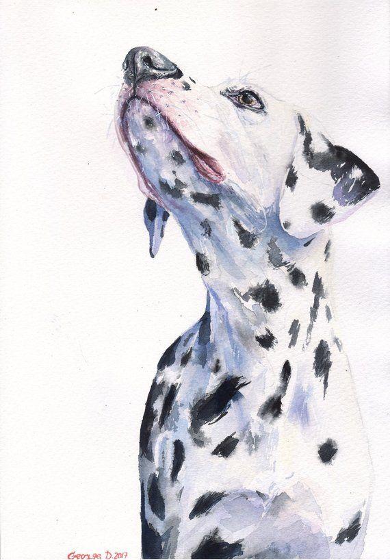 Dalmatian Watercolor Original Painting Art Beautiful Colorful Gift