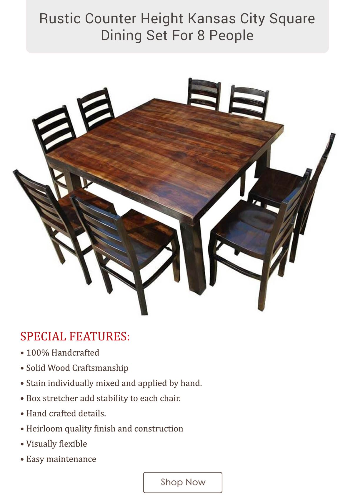 Kansas City Rustic Farmhouse Counter Height Square Dining Set High Top Dining Table Rustic Counter Dining Table Counter height square table for 8