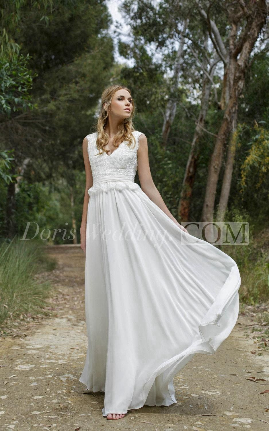 Lace and chiffon vneck sleeveless dress with lowv back garden