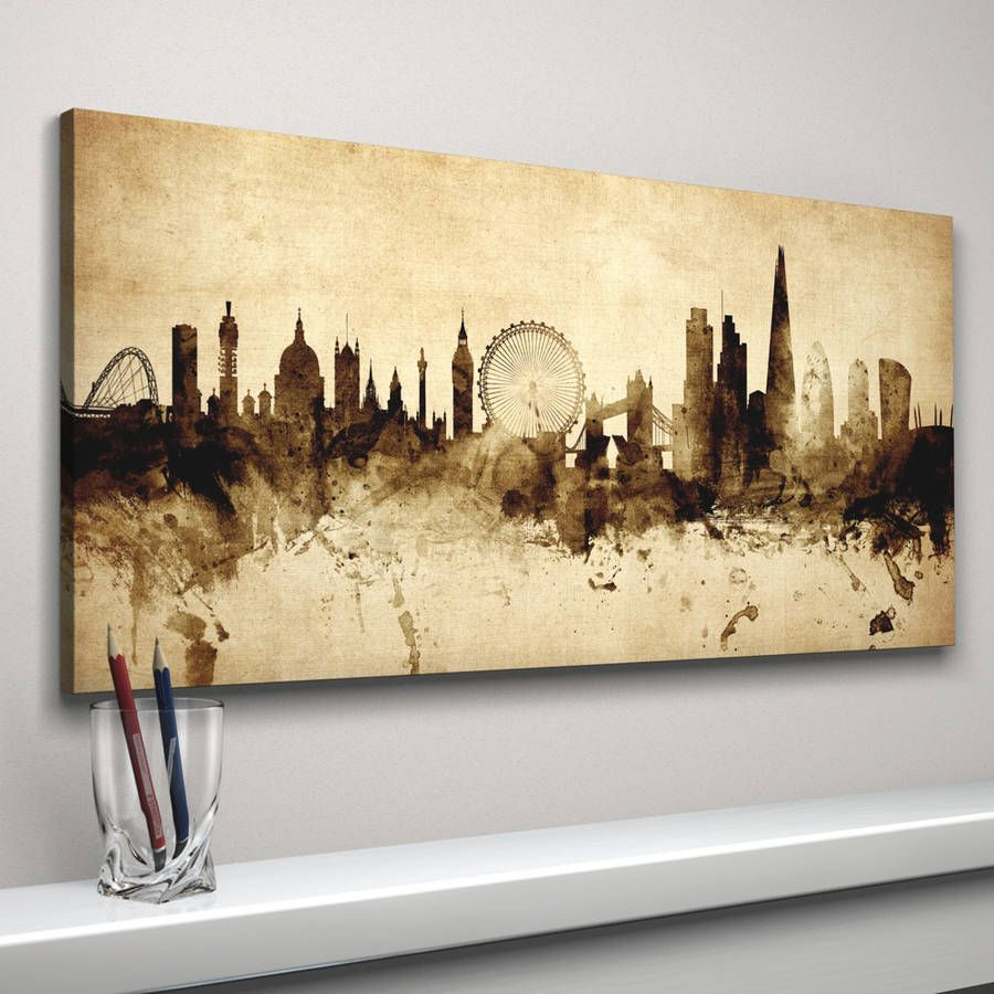 London Skyline Cityscape Vintage Art Print | London skyline, Vintage ...