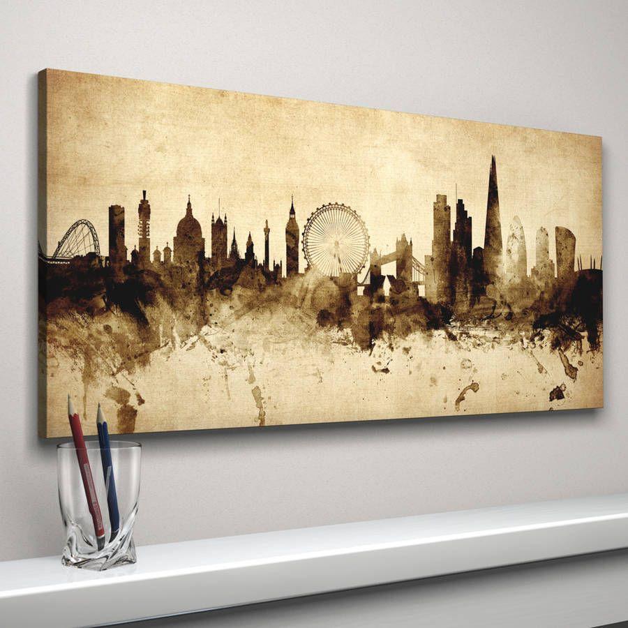 London Skyline Cityscape Vintage Art Print | London skyline, Vintage ...