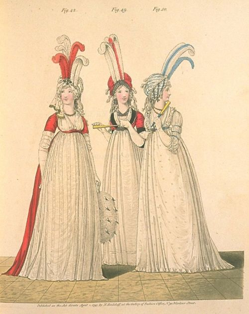 Gallery of Fashion, Figures 48,49, and 50.  April, 1795
