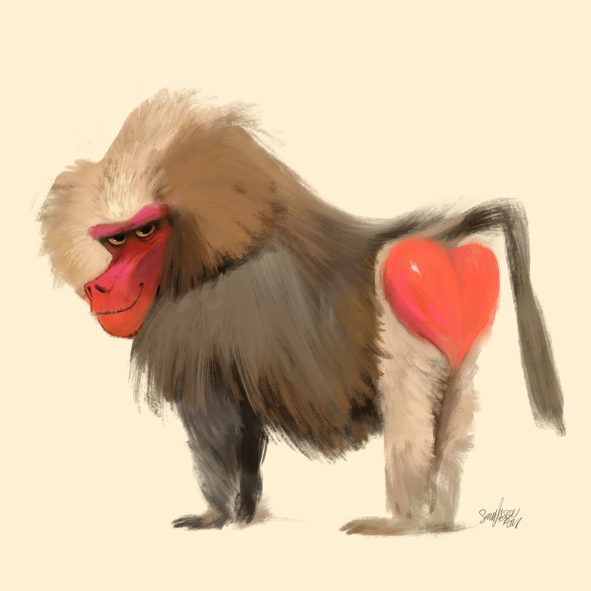 Artstation Baboon 3 Sam Nassour Monkey Illustration Baboon Animal Illustration