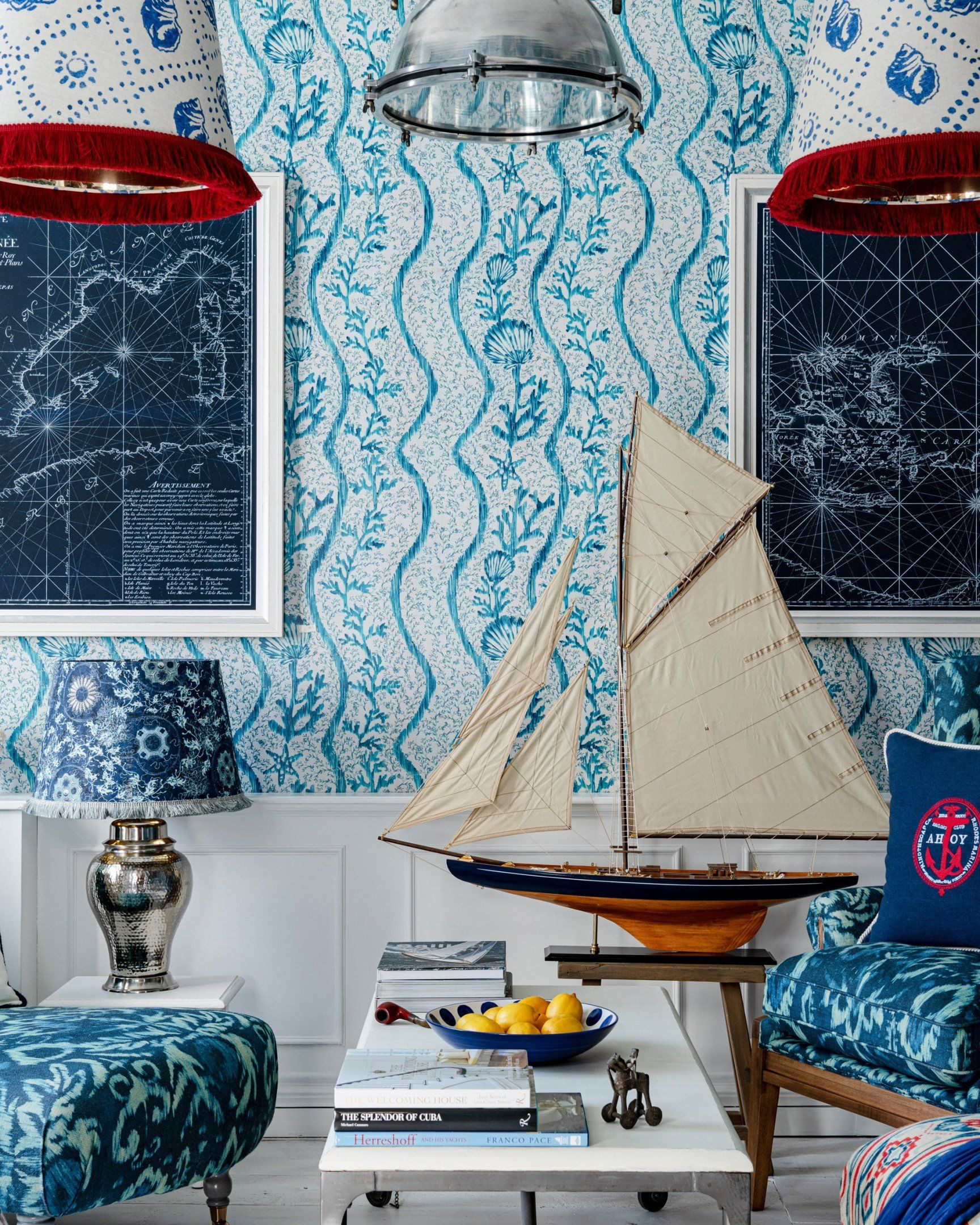 Photo of Koralion Wallpaper in Aquamarine from the Sundance Villa Collection by Mind the Gap