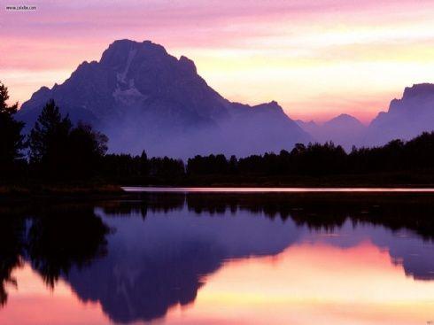 Purple Mountain Majesty Okay Now This Phrase Makes Sense Water Reflection Photography Mountain Landscape Sunrise Wallpaper