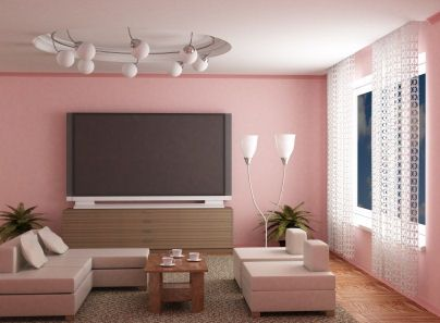 Cute Living Room Paint Idea In Chic Pinky Theme With Pink Wall Paint Color  And Huge Tv Over Wooden Cabinet Also Unique Floor Lamp And Pendant Lamps  Set Also ...