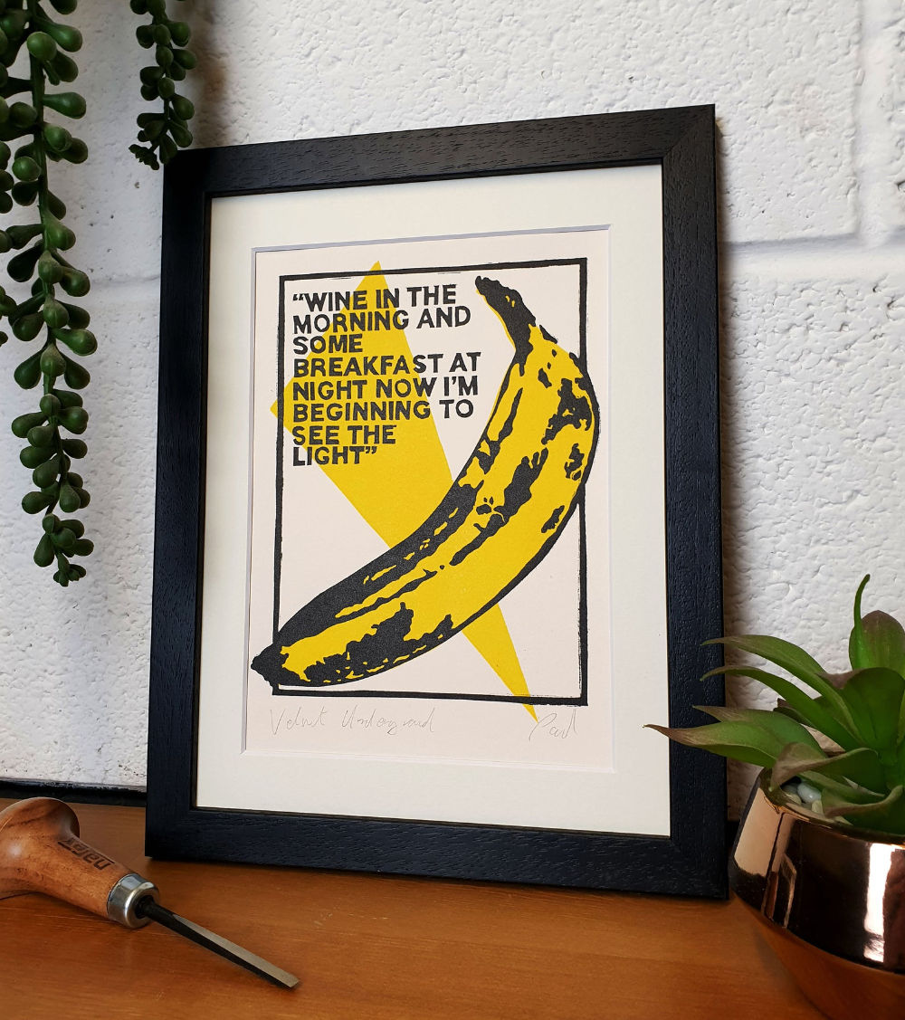 Velvet Underground Andy Warhol Banana Original Lino Print Etsy Lino Print Velvet Underground Andy Warhol Banana