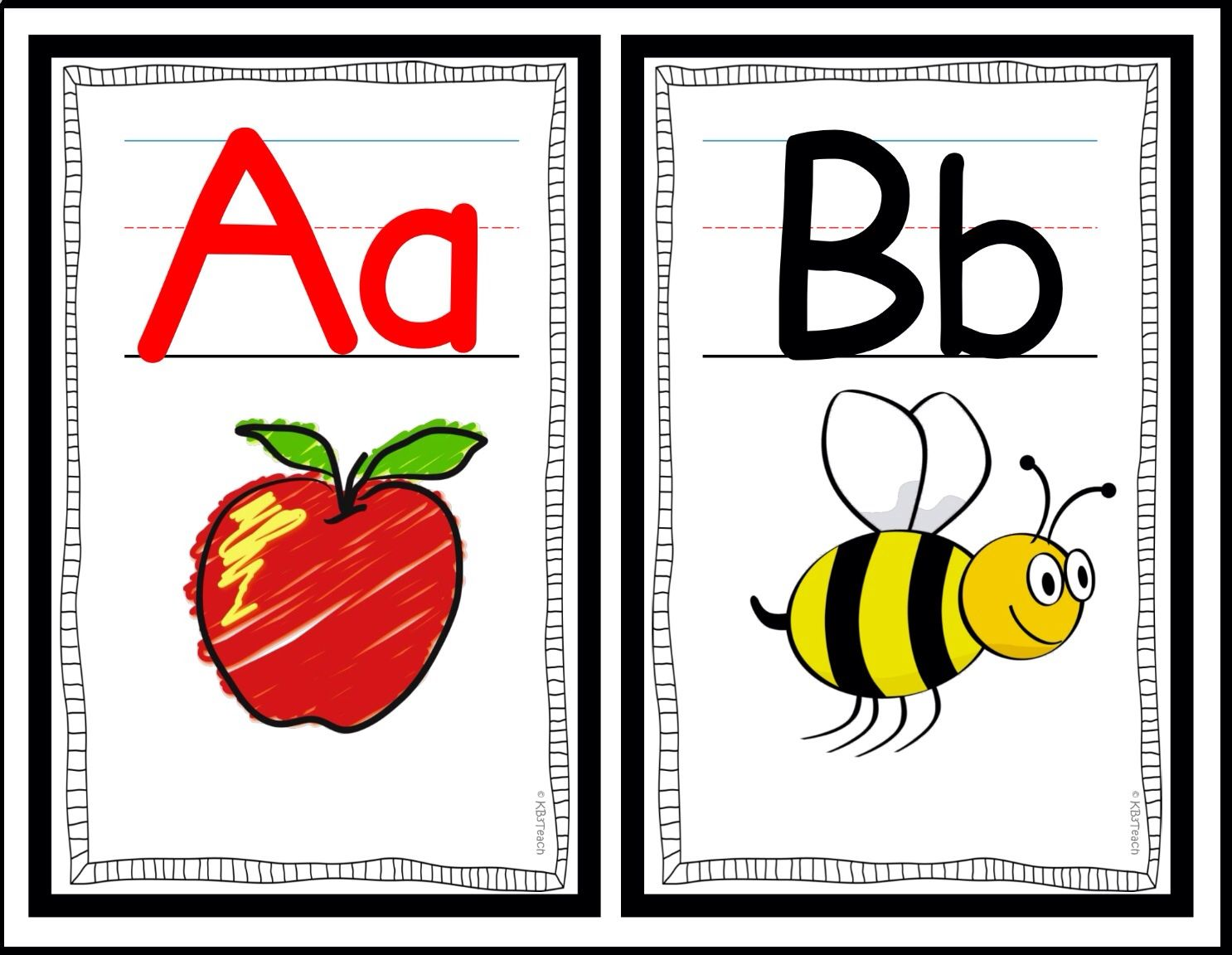Alphabet Classroom Decor Wall Cards A Z Rf K 3a Black