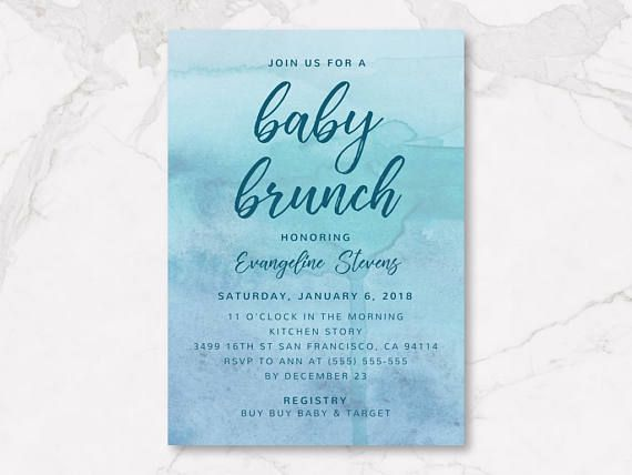 turquoise watercolor baby brunch invitation baby shower paper