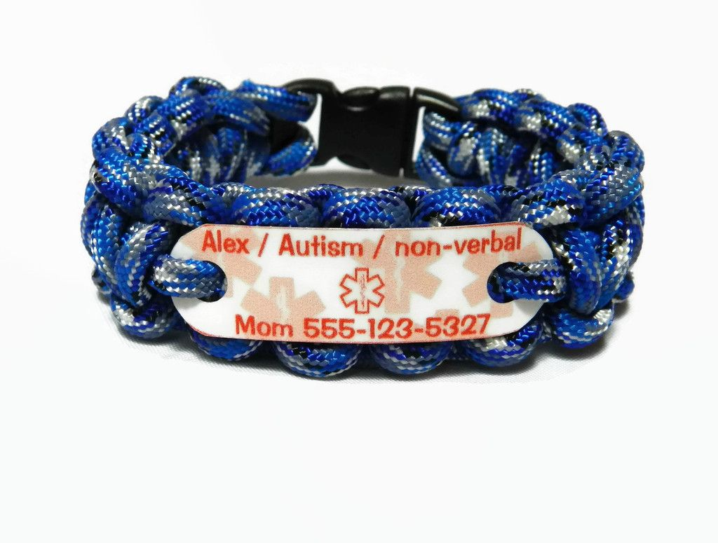 Autism Non Verbal Child S Medical Alert Id Bracelet Our Paracord Bracelets Are Durable Fashionable Serve A Function And Provide You Peace Of Mind