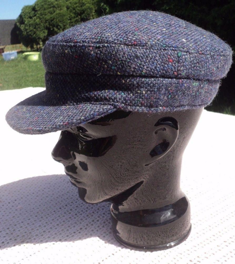 37fc6af60bbb8 Hannah Hats Irish Skipper Cap Blue Size Large Salt   Pepper Tweed Fisherman