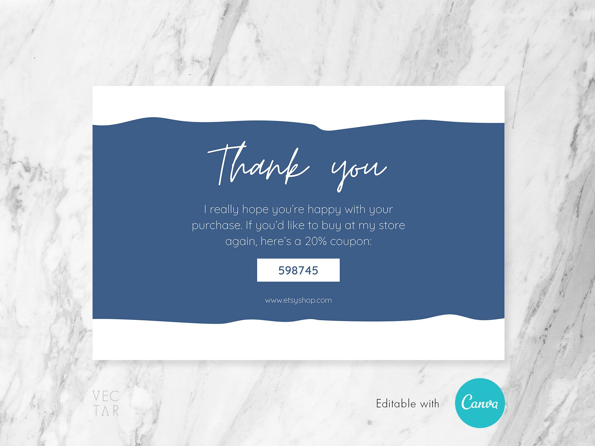 Thank You Card Editable Thank You For Your Order Card Template Digital Printable Insert Card Template Coupon Insert Card Thank You Cards Thank You Card Template Your Cards