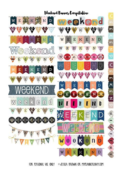Free Printable Weekend Banner Planner Stickers {PDF, JPG and Studio3 files} from myplannerenvy.com