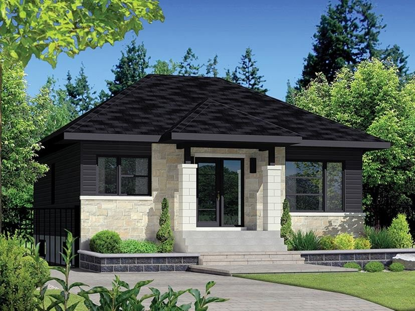 Wonderful EPlans Contemporary Modern House Plan U2013 Dramatic Front Façade U2013 900 Square  Feet And 2 Bedrooms