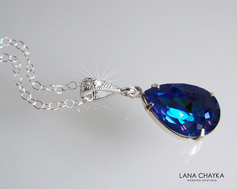 7 Wedding party gifts Vintage sapphire rhinestone necklace oval rhinestone pendant Bridesmaid jewelry
