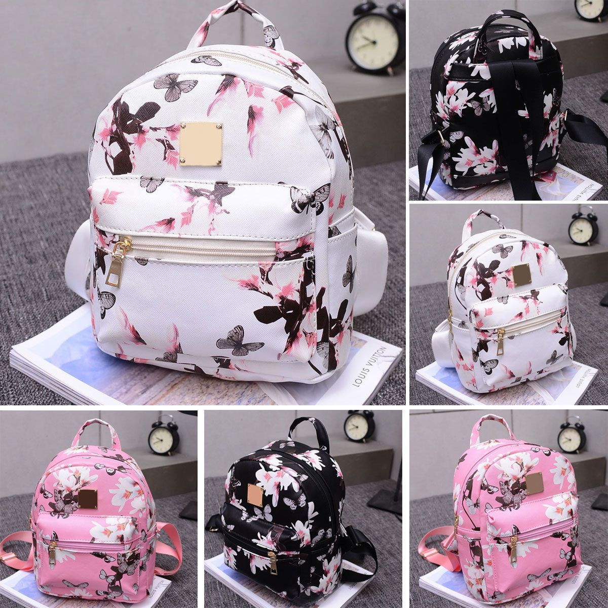 Floral Mini Backpack (Black, White, Pink) - Ladies Floral