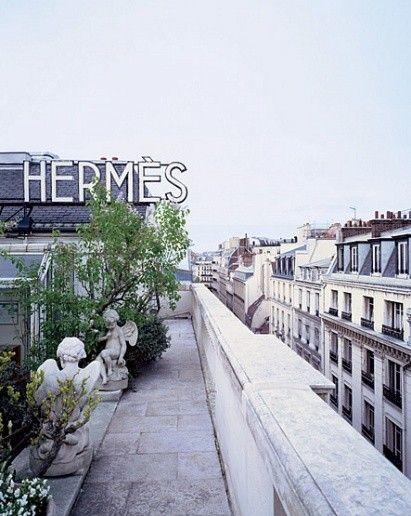 The roof top garden of the Hermes store in Paris.