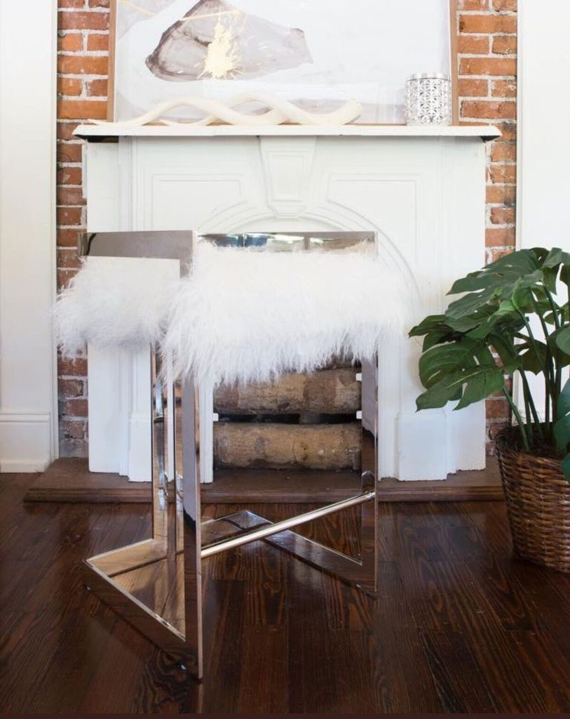 Fine Emmett Counter Stool Nickel And White Mongolian Fur Bar Pabps2019 Chair Design Images Pabps2019Com