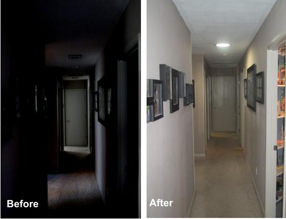 1 10 Sun Glo Tubular Skylight With A Light Kit For Night Use This Hallway Was Transformed From Dingy Black To Bright W Solar Tubes Tubular Skylights Skylight