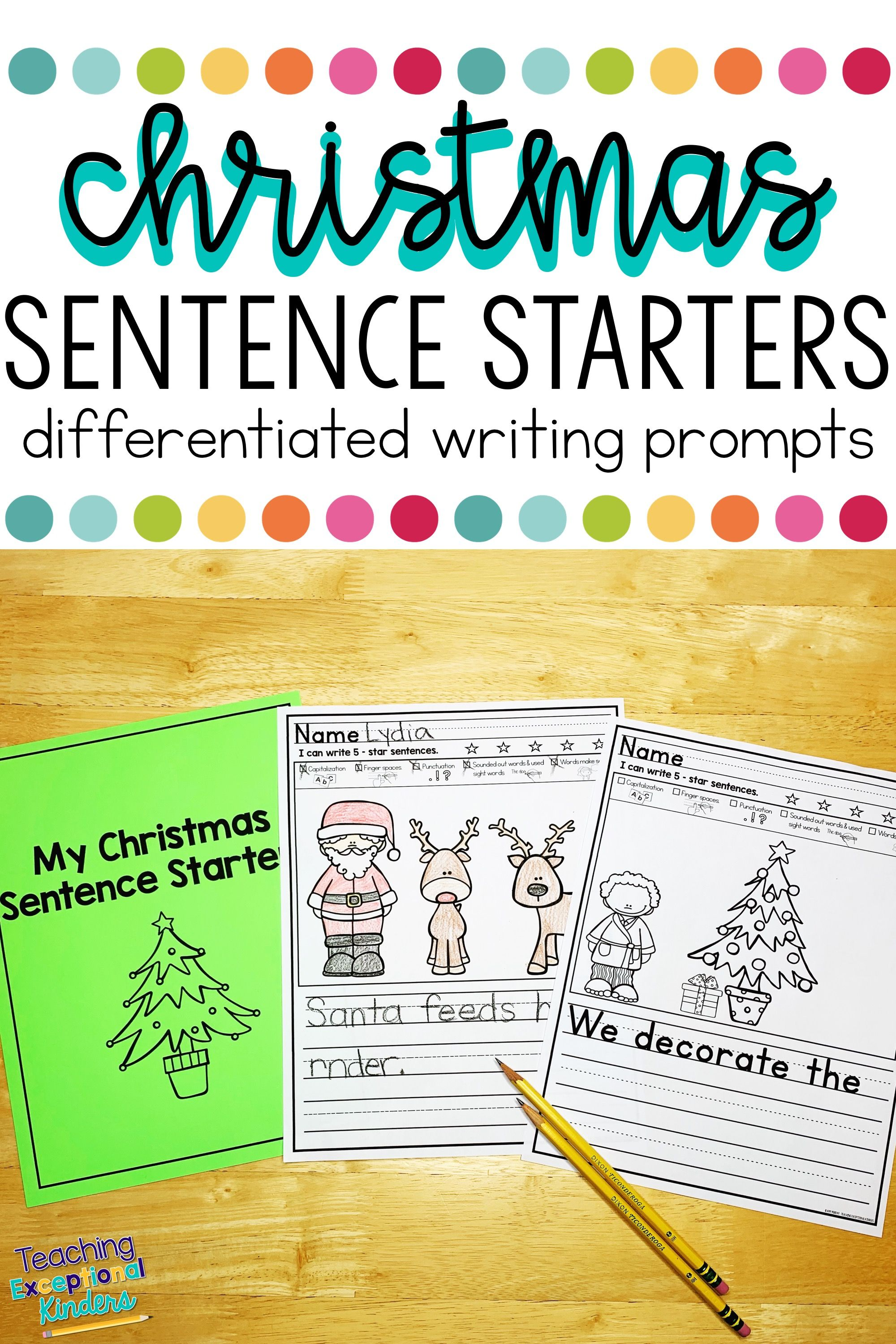 Christmas Picture Writing Prompts With Sentence Starters