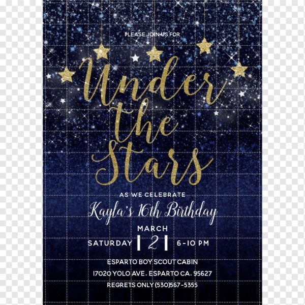 Under The Stars Starry Night Gold Blue Prom Party Invitation Zazzle Com In 2021 Starry Night Prom Starry Night Wedding Star Theme Party