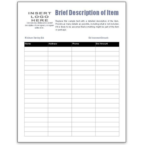 Fotos The Format Silent Auction Item Bid Sheet By Bid Number And – Sample Silent Auction Bid Sheet