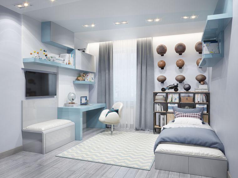 Jolie deco chambre ado garcon bleu gris Kids rooms, Room and Bedrooms - chambre bleu gris blanc
