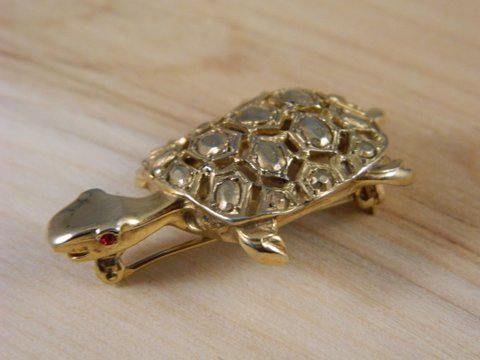 Gold Turtle Pin Hattie Carnegie Brooch Vintage Hattie Carnegie