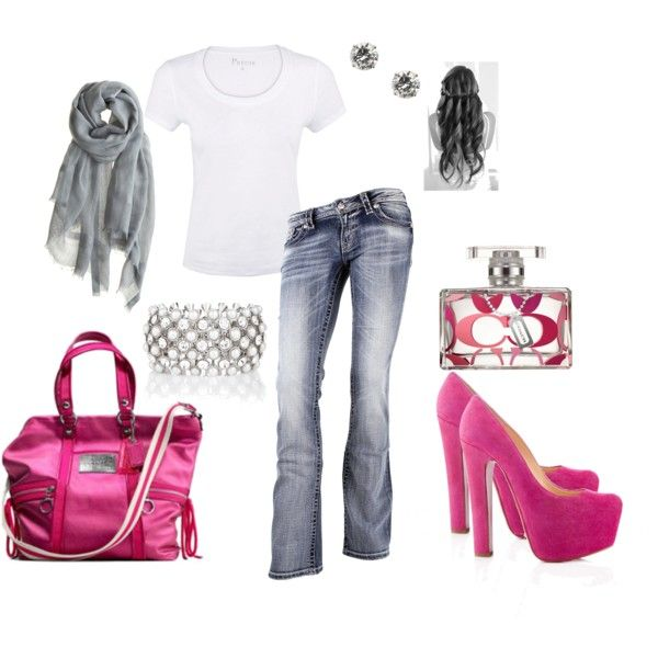 Summer Clothes - White tshirt with grey and pink accessories