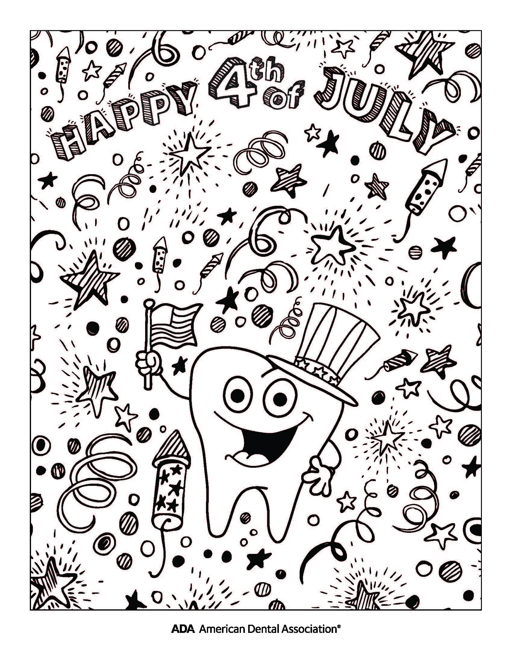 Happy 4th Of July Coloring Sheet