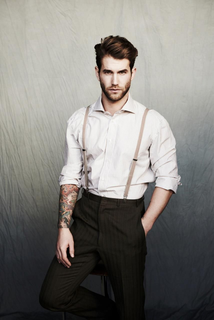 THE CASUAL OLD-SCHOOL VIBE: suspenders with white dress shirt and black suit pants